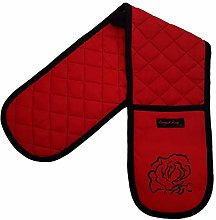 Ragged Rose Double Oven Gloves, Cotton, Red with