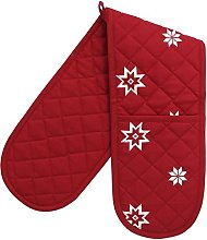 Ragged Rose Double Oven Gloves, red, 85 x 17 cms