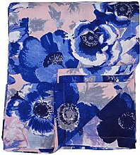 Ragged Rose Floral Tablecloth, Cotton, Blue, 230cm