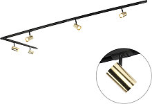 Rail system with 5 spots 1-phase black with gold -