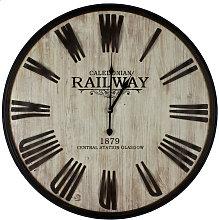 Railway Hometime Wood Effect/Metal Wall Clock