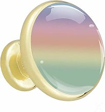 Rainbow Colored Gold Cabinet knobs Metal Round