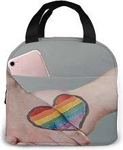 Rainbow Hands Heart Design1 Portable Insulated