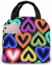 Rainbow Hearts PineSkull Lunch Tote Bag Insulated
