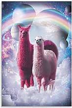 Rainbow Llama In Space Canvas Art Poster and Wall