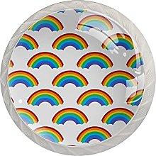 Rainbow Patterns Design 4PCS Round Shape Cabinet