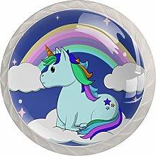Rainbow Purple Unicorn 4 Pieces Crystal Glass