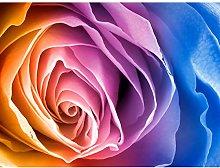 Rainbow Rose Photo Edit Large Wall Art Print
