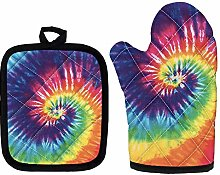 Rainbow Tie Dye Oven Mitts, Heat Resistant Kitchen