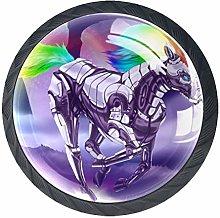 Rainbow Unicorn Horse Purple 4 Pieces Crystal