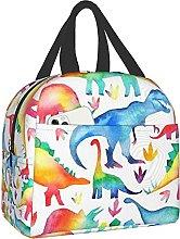 Rainbow Watercolour Dinosaurs Portable Lunch Bag
