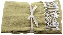 Raine And Humble - Basket Weave Throw Moss Green -