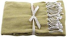 Raine & Humble Basket Weave Throw, Cotton, Moss