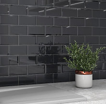 RAK Subway Metro Nero Bevel Decor Glossy Tiles -