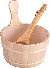 Ranana Pine Wooden Sauna Bucket Set Sauna Kit With Ladle And Spoon Steaming Bathroom Accessories Hot Tubs Supplies 4L reasonable