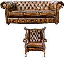 Ranger Chesterfield 2 Piece Leather Sofa Set