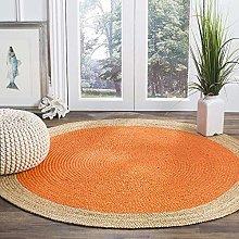Rangneel Fabrics Round Shape Handmade Orange Color