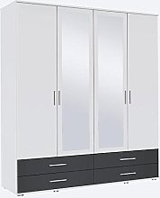 Rasant Rauch 4 Door 2 Mirror Hinged Wardrobe With