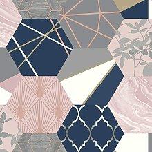 Rasch Geometric Hexagon Patchwork Wallpaper - Pink