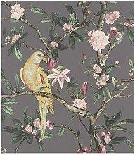 Rasch Wallpaper 543346 Exotic Bird Dark Grey/Multi