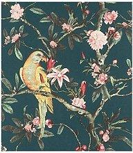 Rasch Wallpaper 543353 Exotic Bird Teal/Multi