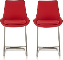 Rasmus Bar Stool In Red Faux Leather In A Pair