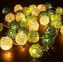 Rattan Ball String Lights, DINOWIN 20 LED Wicker