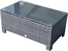 Rattan Coffee Table with Glass Top Brown Outsunny®