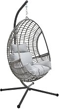 Rattan Effect Hanging Egg Chair - Grey