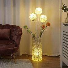 Rattan Floor Lamp Tall LED Bedside Night Light