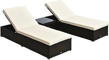 Rattan Furniture 3PC Wicker Sun Lounger Chaise