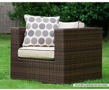 Rattan Garden Armchair in Brown - Ascot