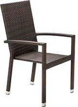 Rattan Garden Armed Stacking Chair in Brown - Rio