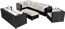 Rattan Garden Corner Sofa Set in Black - Corner
