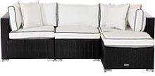Rattan Garden Corner Sofa Set in Black & White