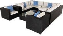 Rattan Garden Corner Sofa Set in Black with White
