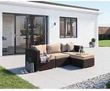 Rattan Garden Corner Sofa Set in Brown - 4 Piece -