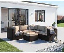 Rattan Garden Corner Sofa Set in Brown - 6 Piece -