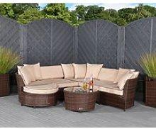 Rattan Garden Corner Sofa Set in Brown - Valencia