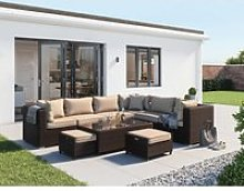 Rattan Garden Corner Sofa Set in Brown with Coffee