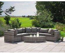 Rattan Garden Corner Sofa Set in Grey - 6 Piece