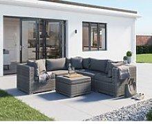 Rattan Garden Corner Sofa Set in Grey - 6 Piece -