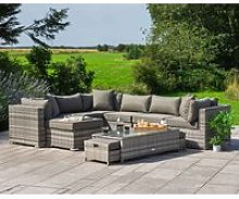 Rattan Garden Corner Sofa Set in Grey - Geneva -