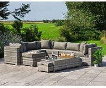 Rattan Garden Corner Sofa Set in Grey - Geneva