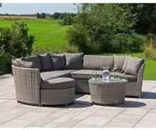 Rattan Garden Corner Sofa Set in Grey - Valencia -