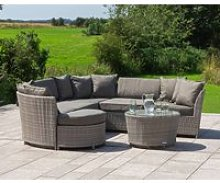 Rattan Garden Corner Sofa Set in Grey - Valencia