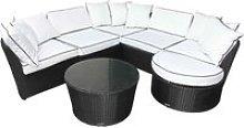 Rattan Garden Curved Corner Sofa Set in Black