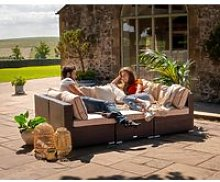 Rattan Garden Day Bed Sofa Set in Brown - Geneva -