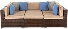 Rattan Garden Day Bed Sofa Set in Brown - Geneva -