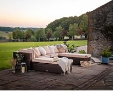 Rattan Garden Day Bed Sofa Set in Brown - Monaco -